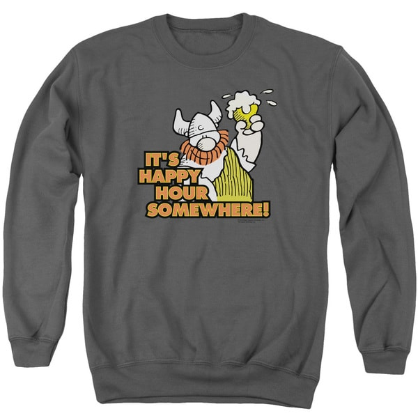Hagar The Horrible/Happy Hour Adult Crew Sweat in Charcoal