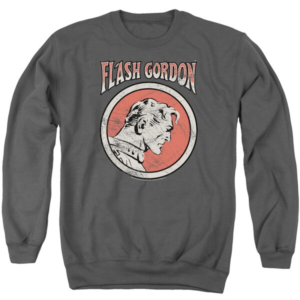Flash Gordon/Flash Circle Adult Crew Sweat in Charcoal