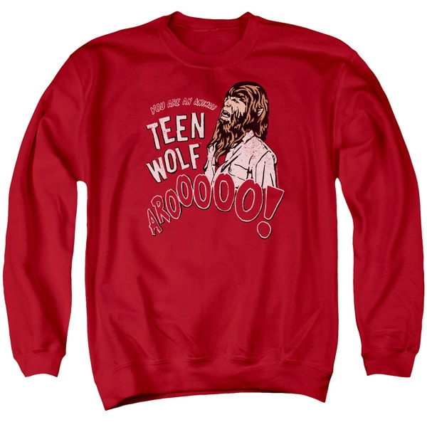 Teen Wolf/Animal Adult Crew Sweat in Red