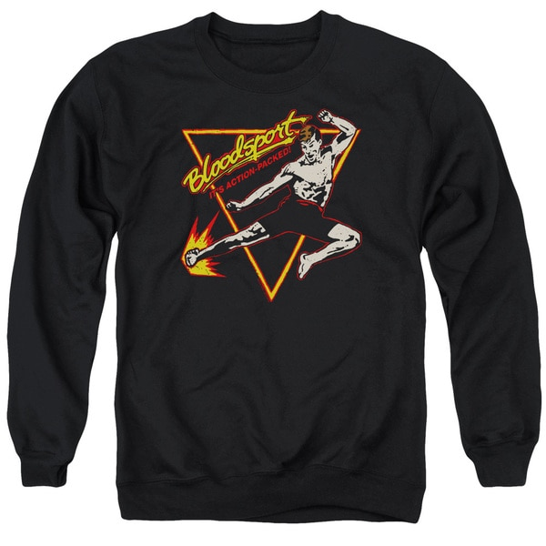 Bloodsport/Action Packed Adult Crew Sweat in Black