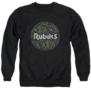 Rubik's Cube/Circle Pattern Adult Crew Sweat in Black