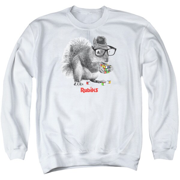Rubik's Cube/Nerd Squirrel Adult Crew Sweat in White
