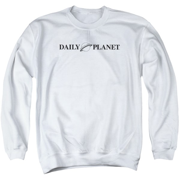 Superman/Daily Planet Logo Adult Crew Sweat in White