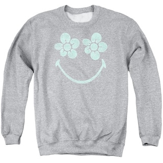Smiley World/Flower Face Adult Crew Sweat in Athletic Heather