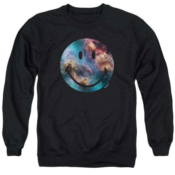 Smiley World/Galaxy Face Adult Crew Sweat in Black