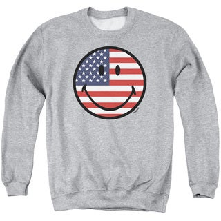 Smiley World/American Flag Face Adult Crew Sweat in Athletic Heather