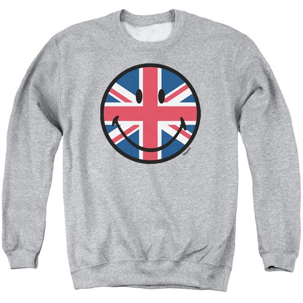 Smiley World/Union Jack Face Adult Crew Sweat in Athletic Heather
