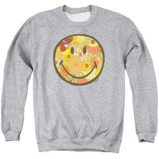 Smiley World/Floral Face Adult Crew Sweat in Athletic Heather