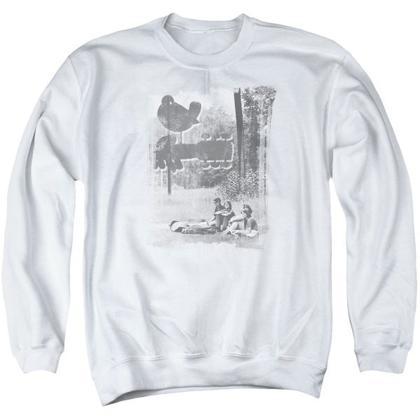 Woodstock/Hippies in A Field Adult Crew Sweat in White