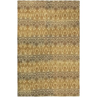 eCarpetGallery Vibrance Dhurrie Yellow/Brown Wool/Cotton Rug (4'11 x 7'9)