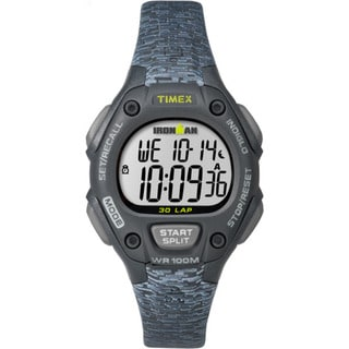 Timex TW5M077009J Ironman Classic 30 Women's Black and Grey Resin Mid-size Strap Watch