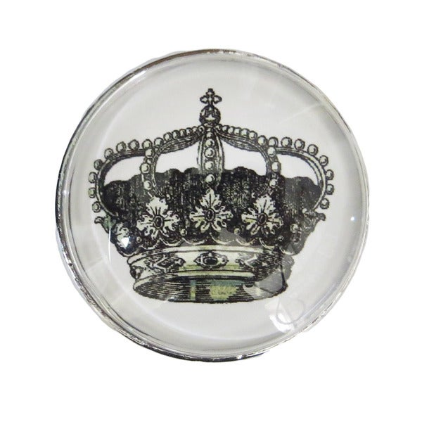 Chrome Glass Crown Drawer/ Door/ Cabinet Pull Knob (Pack of 6)