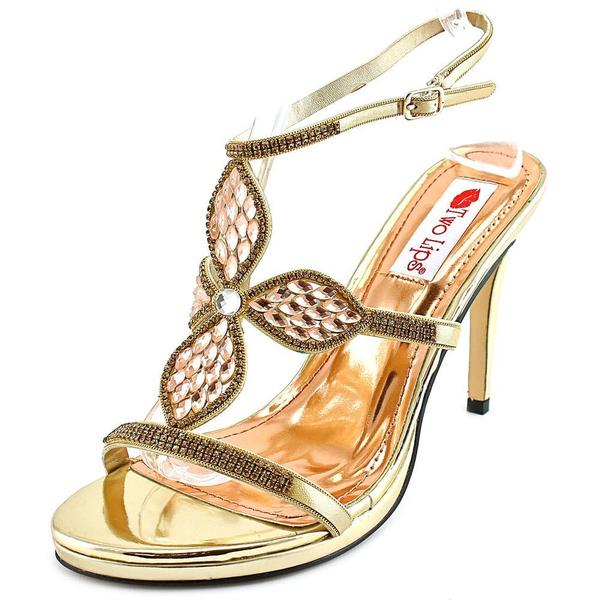 Two Lips Women's Kayla Gold Synthetic Open-toe High Heels