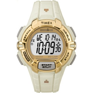 Timex Ironman White and Goldtone Resin/Acrylic/Stainless Steel Unisex Strap Watch