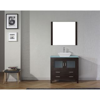 Virtu USA Dior 36-inch Glass Top Double Bathroom Vanity Set with Faucet