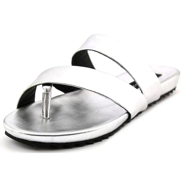 Steven Steve Madden Women's Korrii Silver Leather Sandals