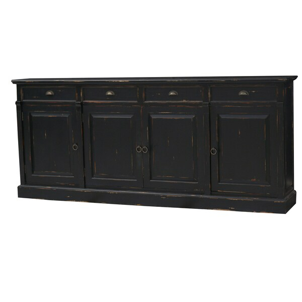 Bramble Co. Hudson 4-drawer Black Heavy Distressed Mahogany Sideboard