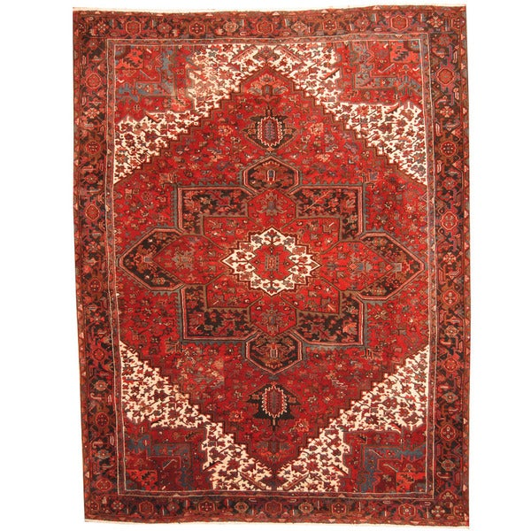 Herat Oriental Persian Hand-knotted 1960s Semi-antique Tribal Heriz Red/ Black Wool Rug (9'9 x 13'1) 19162808