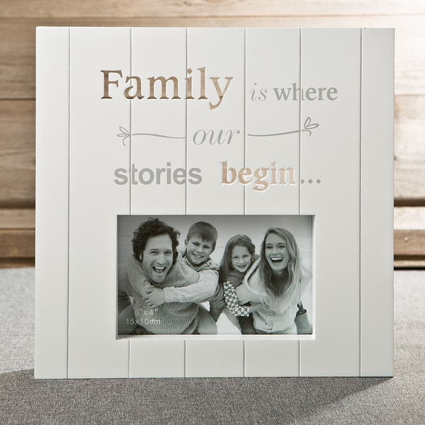 White Wood Laser Cut Family Photo Frame