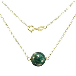 DaVonna 18k Gold over Silver Cable Chain Necklace with 10mm Simulated Green Malachite Round Gemstone as Pendant Necklace