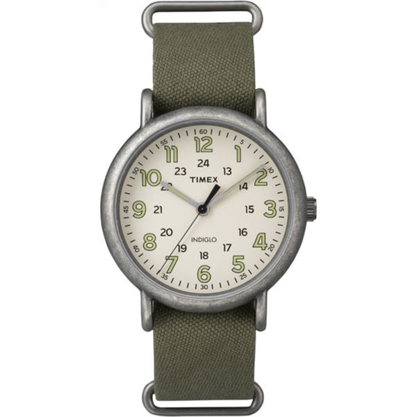 Timex TW2P859009J Weekender Olive Green/Off-white Fabric/Brass/Mineral/Stainless Steel Oversized Slip-thru Men's Strap Watch
