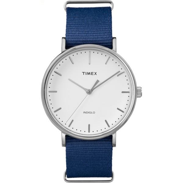 Timex Unisex Fairfield Collection Stainless Steel Watch with Blue Nylon Strap 19164201