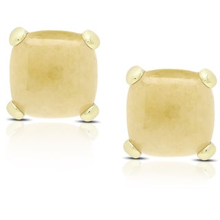 Dolce Giavonna Gold Over Sterling Silver Cushion-cut Honey Quartz Stud Earrings