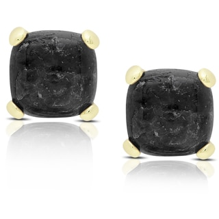 Dolce Giavonna Gold Over Sterling Silver Cushion-cut Labradorite Stud Earrings