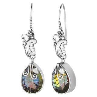Mystic Quartz Sterling Silver Bali Flora Cawi Earrings (Indonesia)
