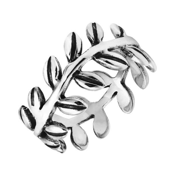 Nature Ivy Leaf Wrap Eternity Band Sterling Silver Ring (Thailand)