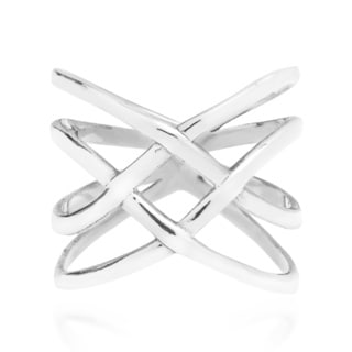 Exotic Puzzle Weave Quad Band Sterling Silver Ring (Thailand)