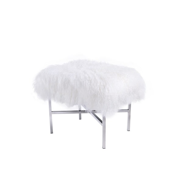 Pasargad Beige Mongolian Fur and Leather Ottoman