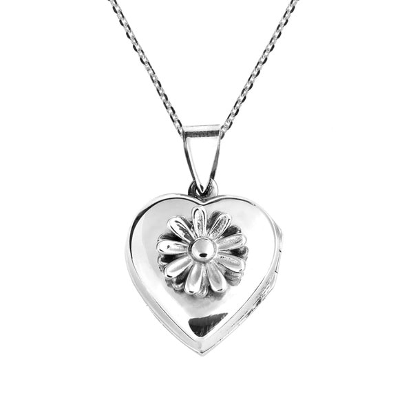 Daisy in Full Bloom Heart Locket .925 Silver Necklace (Thailand)