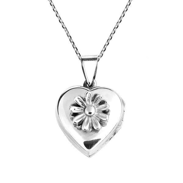 Daisy in Full Bloom Heart Locket .925 Silver Necklace (Thailand)