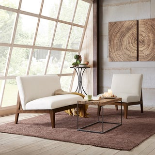 Madison Park Adria Off White Slant Back Wood Settee