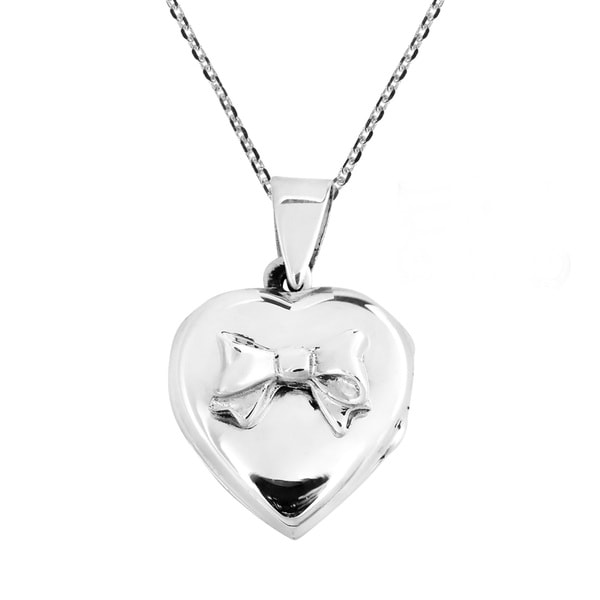 Adorable Bow on Heart Locket Pendant 925 Silver Necklace (Thailand)
