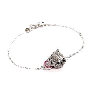 Pori 18-carat Gold Plate Over Silver or Sterling Silver Cubic Zirconia Panther Bracelet with Extension