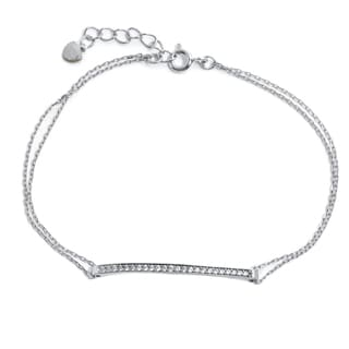 Pori 18k Gold Plated/Rhodium Plated Horizontal Cubic Zirconia Bar Bracelet With Extension