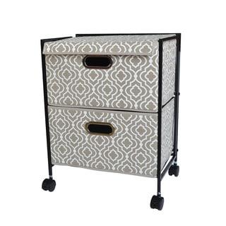 Tan/ White Folding Two-Drawer Filing Cabinet