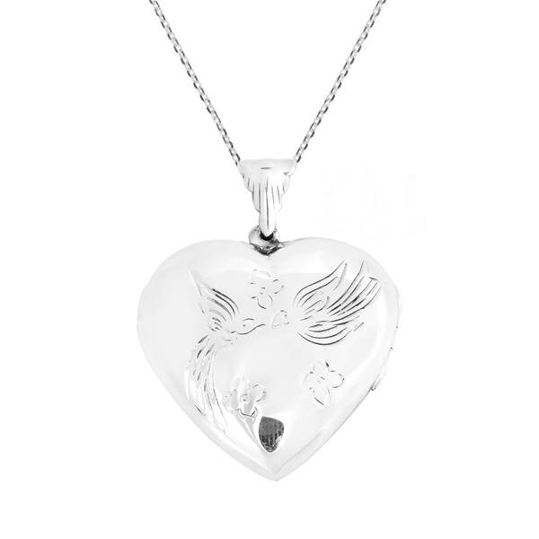 Handmade Kissing Doves Heart Locket .925 Silver Necklace (Thailand) 19166528