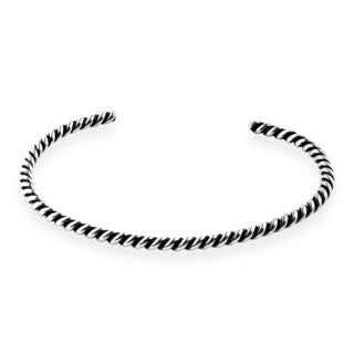 Handcrafted Spiral Twisted .925 Silver Cuff Bracelet (Thailand)