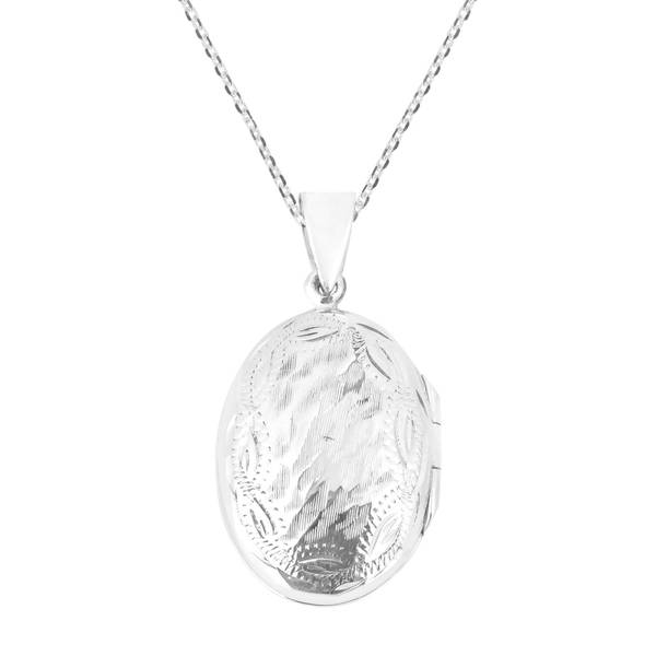 Handmade Textured Oval Locket 925 Silver Necklace (Thailand) 19166561