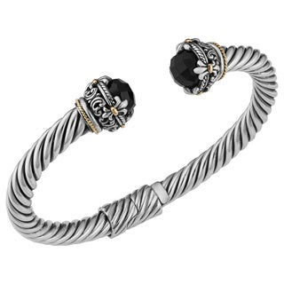 Black Onyx 18K Gold and Sterling Silver Fleur De Lis Cawi Cuff Bracelet (Indonesia)