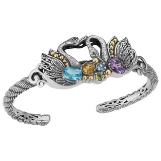 18K Gold and Sterling Silver Multi-Gemstone Majestic Swan Cawi Cuff Bracelet (Indonesia)