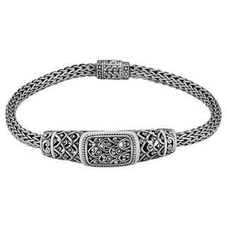 "Sterling Silver Rain Forest 7.5"" Long Cawi Bracelet (Indonesia)"