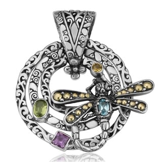 18K Gold and Sterling Silver Multi-Gemstone Joyful Dragonfly Cawi Pendant (Indonesia)