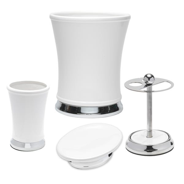 White Ceramic and Chrome Handcrafted Bathroom Accessory Set or Separates