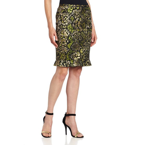 Elie Tahari Womens' Ruth Gold Polyester/Cotton Jacquard Skirt