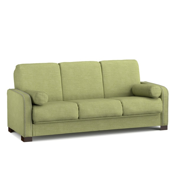 Better Living Convert-a-Couch Sofa Sleeper in Green Linen