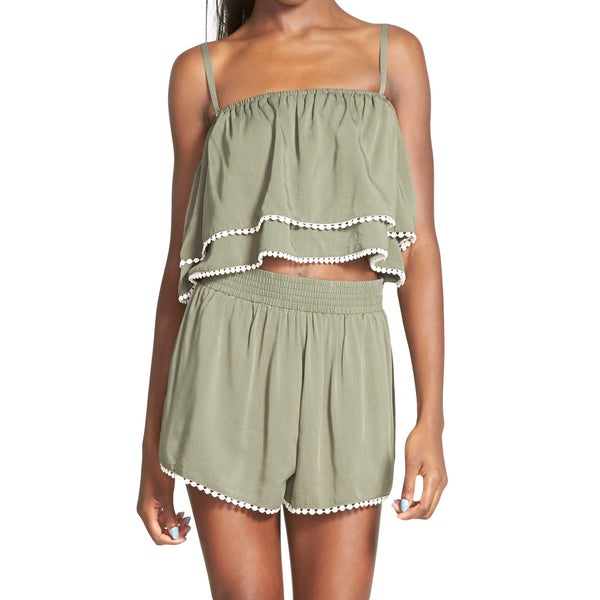 Minkpink Get Lost Women's Khaki Polyester and Viscose Ruffle Crop Top